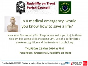 Radcliffe Training Poster 12 May 16
